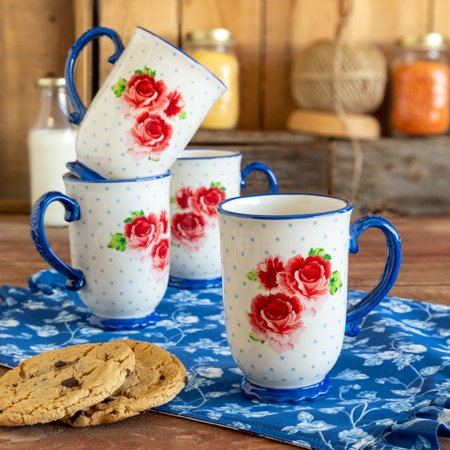 Four Mug Tray - The Pioneer Woman Heritage Floral Mugs, set of 4
