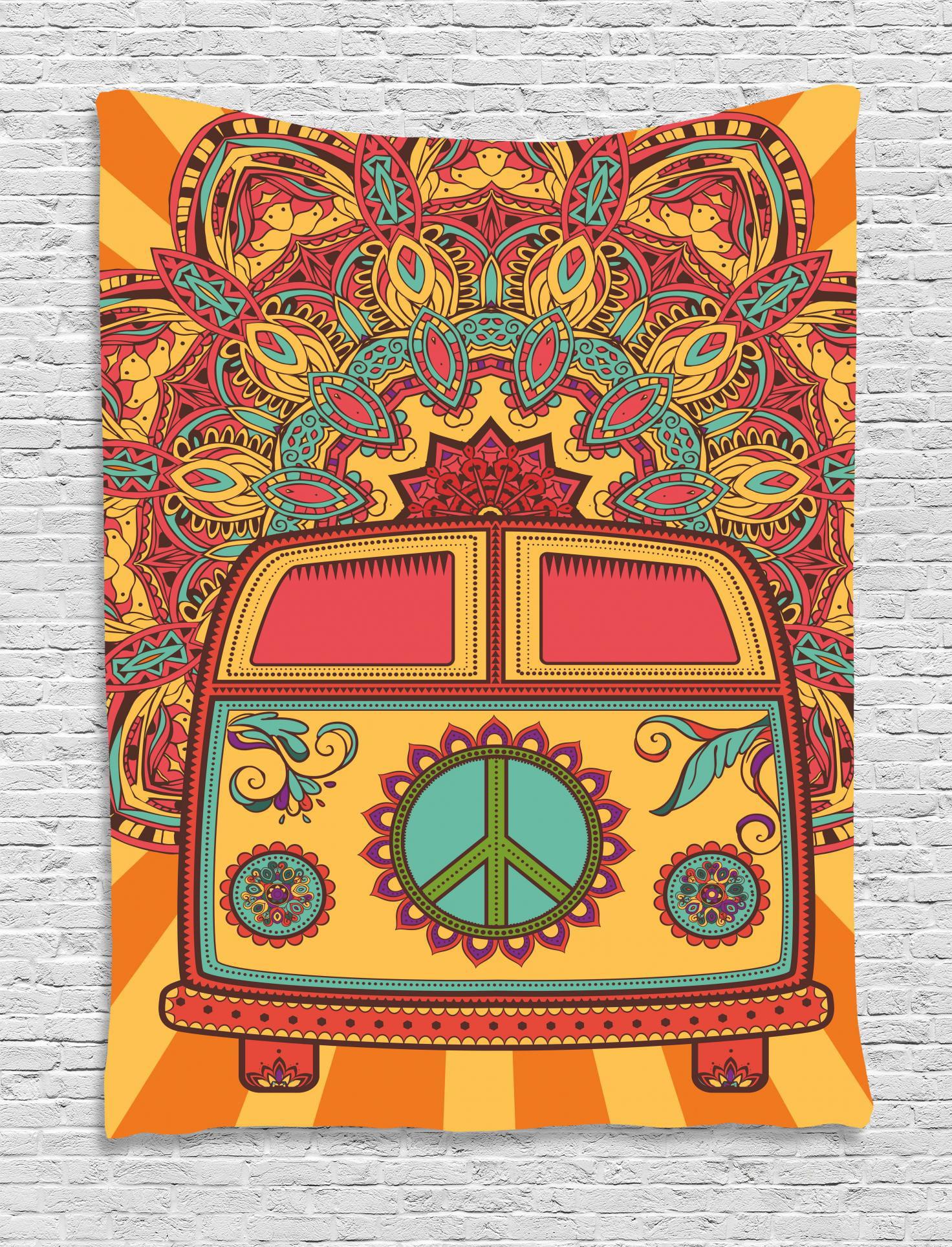 Peace Sign Bedroom Accessories: 70s Party Tapestry, Hippie Vintage Mini Van Ornamental