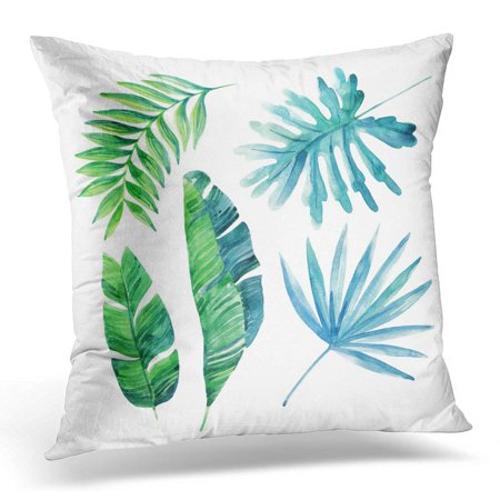 BOSDECO Blue Leaf Watercolor Tropical Leaves White Exotic Painting Hand for Summer Design Green Tropic Pillowcase Pillow Cover Cushion Case 20x20 inch - image 1 de 1