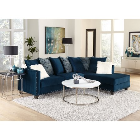 Living Room Modern Classic Blue Fabric Sectional Sofa 2pc Set Cushion  Comfort Couch Sofa Chaise