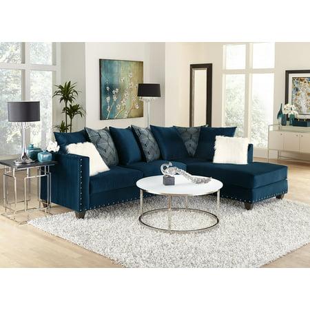 Living Room Modern Classic Blue Fabric Sectional Sofa 2pc Set ...