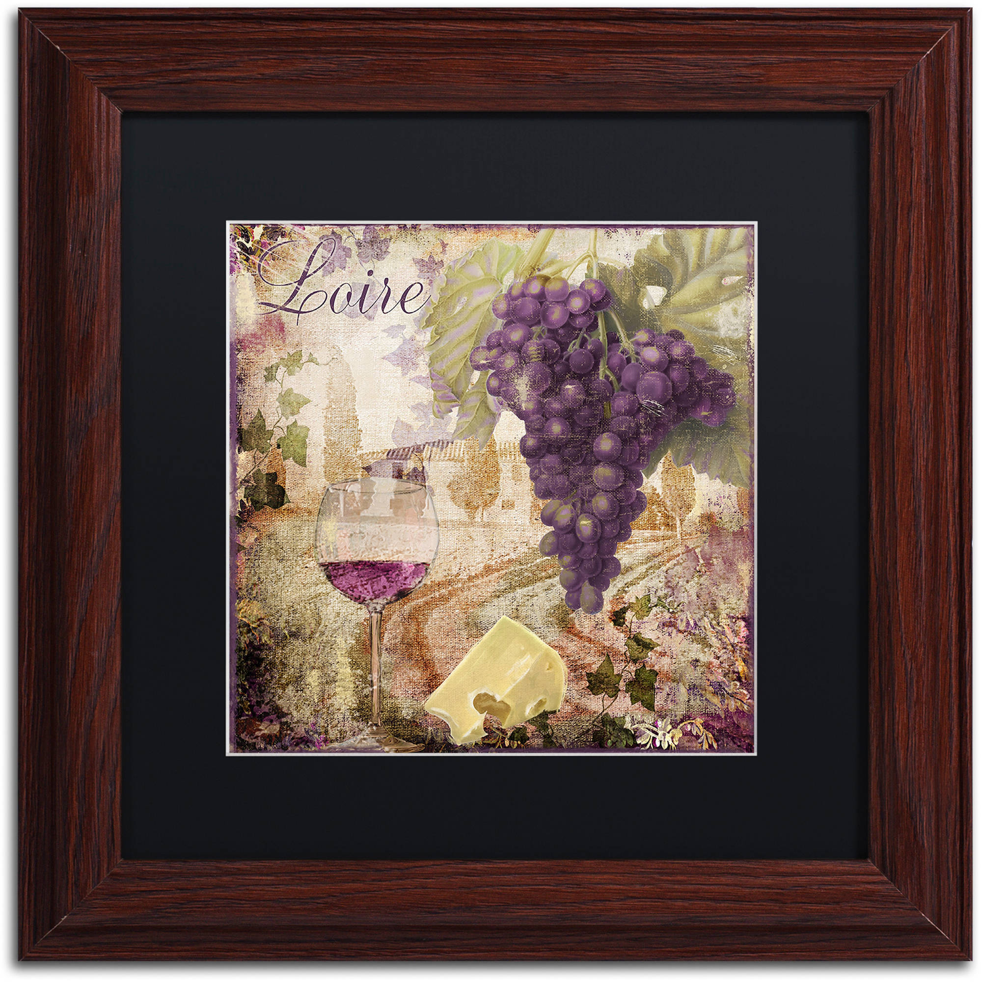 """Trademark Fine Art """"Wine Country II"""" Canvas Art by Color Bakery Black Matte, Wood Frame"""