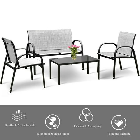 Costway 4 PCS Patio Furniture Set Sofa Coffee Table Steel Frame Garden Deck Gray - image 4 of 8