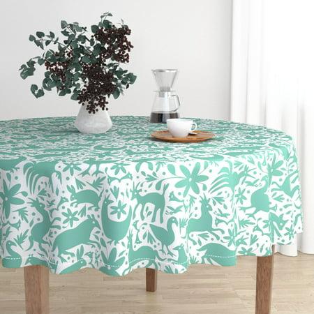 Round Tablecloth Mint Green Otomi Otomi Otomi Nature Animals Mint Cotton Sateen](Mint Green Tablecloth)