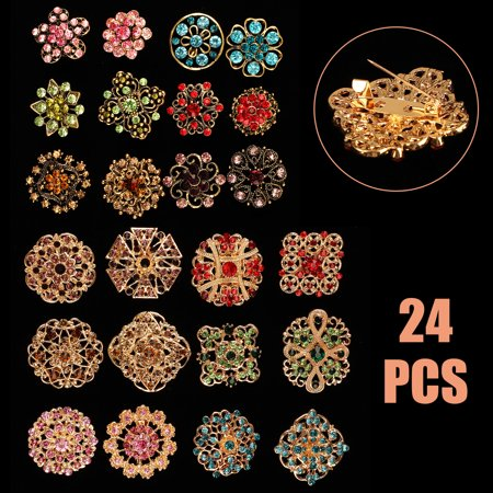 Vintage Rhinestone Flower Pin (EEEkit DIY Wedding Bouquets Kit,Crafts Decoration, Lot 24pcs Clear Rhinestone Crystal Flower Brooches Pins Set DIY Wedding Bouquet Broaches Kit)