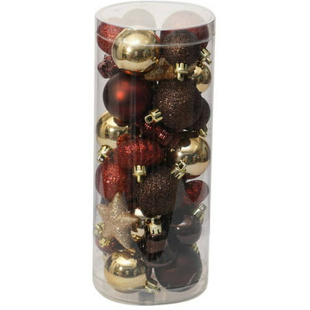 holiday time christmas ornaments traditional mini set of 40 dark red brown