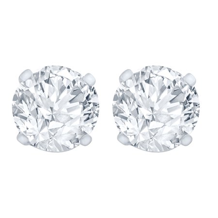 1.00 Carat Diamond Stud Earrings (I1I2 Clarity, IJ Color) 14kt White Gold
