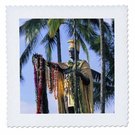 - 3dRose King Kamehameha Statue Hilo Island of Hawaii - US12 DPB0438 - Douglas Peebles - Quilt Square, 10 by 10-inch