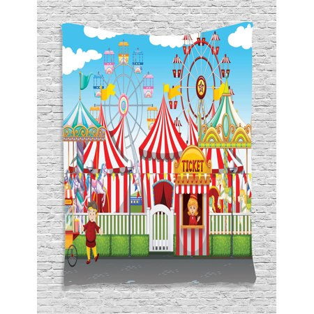 Circus Decor Wall Hanging Tapestry, Carnival With Many Rides And Shops Illustration Landscape Cloudy Sky, Bedroom Living Room Dorm Accessories, Gift Ideas, By