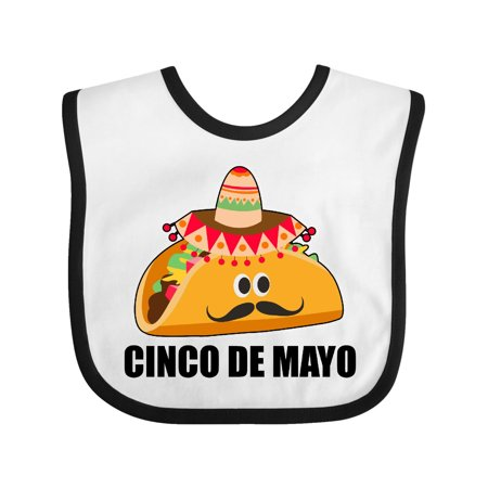 Cinco De Mayo With Taco with Eyes Mustache and Sombrero Baby Bib White/Black One Size](Black And White Sombrero)