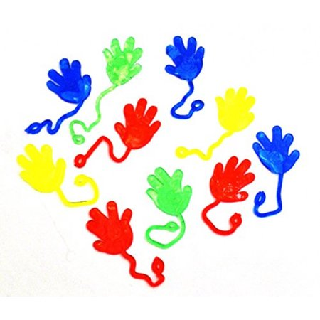 Dazzling Toys Vinyl Sticky Hands and Feet Birthday Party Favors Carnival Prize - 6 Hands,2 Inch Hand with a 7 Inch String