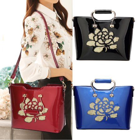 Women Retro Flower Bright Patent Leather Tote Bag Bride Bag Dinner Party handbag for woman Evening Bag for Girls Lady Birthday Gift