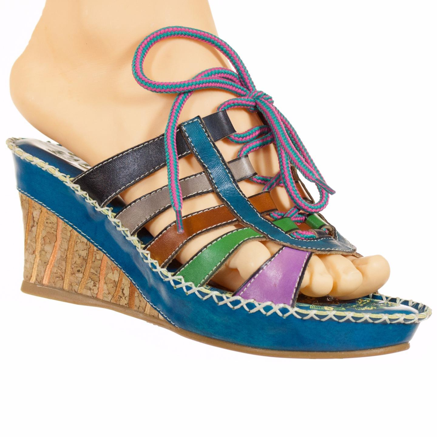 L'Artiste By Spring Step Frumuasa Women's Sandals Turquoise Multi EU 37 US 7 by Spring Step