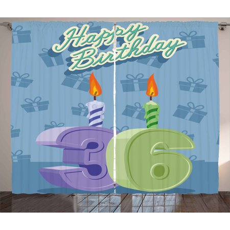 36th Birthday Decorations Curtains 2 Panels Set Party 36 Candles On Baby Blue Backdrop Image