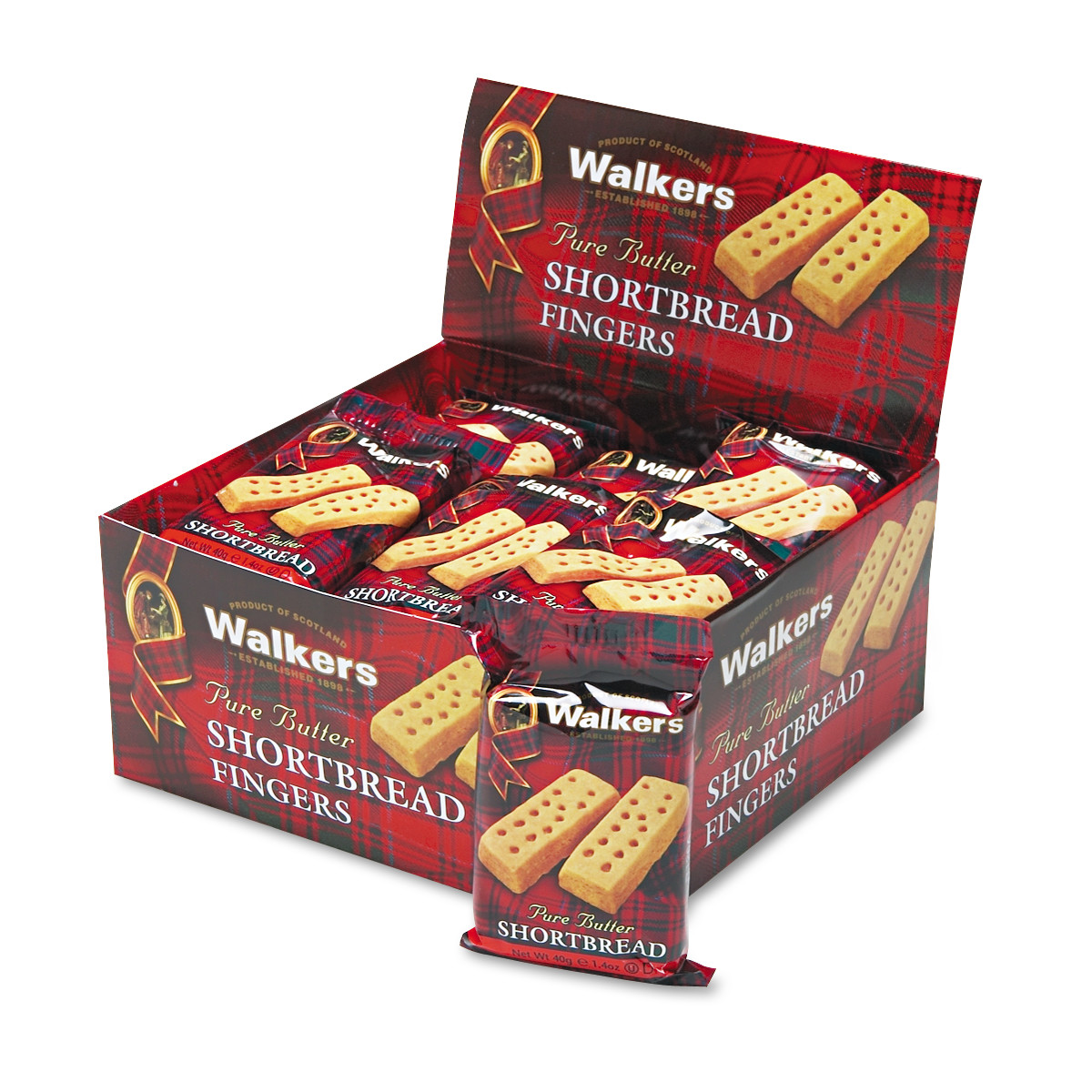 Walkers Shortbread Cookies, 2/Pack, 24 Packs/Box