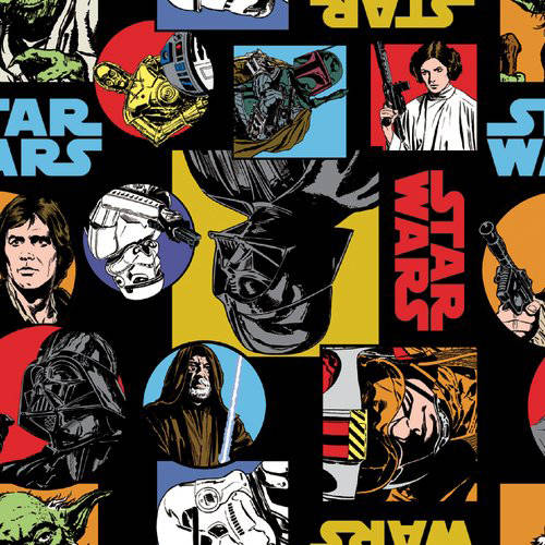 DC Comics Marvel Cotton Star Wars Classic Painted Characters Fabric, per Yard
