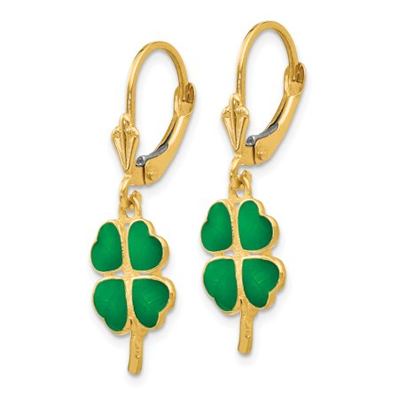 14k Yellow Gold Enameled Clover Leverback Earrings Lever Back Drop Dangle Good Luck Fine Jewelry Gifts For Women For Her - image 5 de 7