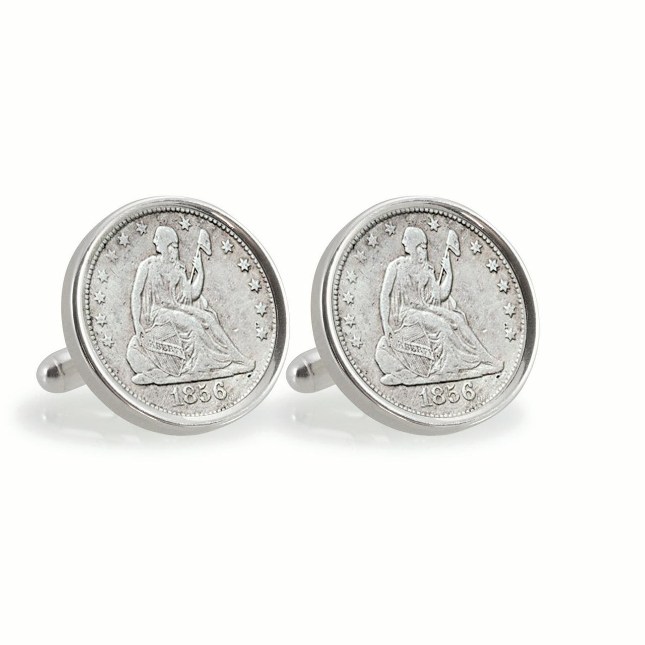 Seated Liberty Silver Dime Sterling Silver Coin Cuff Links