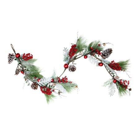 Christmas Garlands.70 Bells Berries And Pine Cones Frosted And Frocked Artificial Christmas Garland Walmart Canada