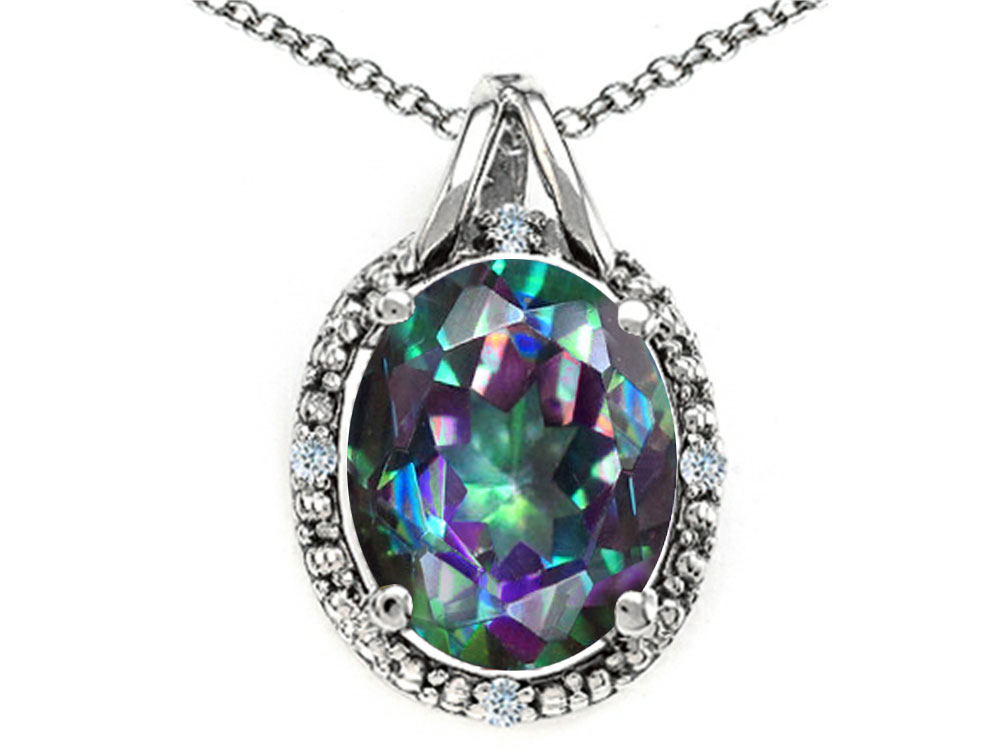 Tommaso Design Oval 10x8mm Mystic Rainbow Topaz Pendant Necklace by