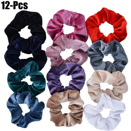 Fascigirl 12Pcs Hair Scrunchies Velvet No Damage Traceless Elastic Hair Bands Scrunchy Hair Ties Ropes Scrunchie for Women or Girls Hair Accessories - 12 Assorted Colors Scrunchies