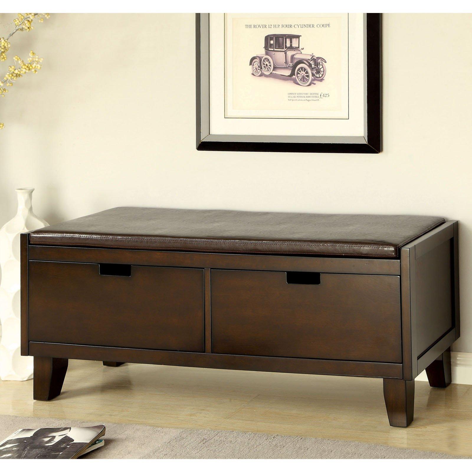 Furniture of America Revelle Padded Leatherette Storage Bench - Walnut
