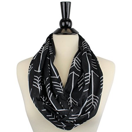 Women's Arrow Patterned Infinity Scarf with Zipper Pocket - Snowman With Scarf