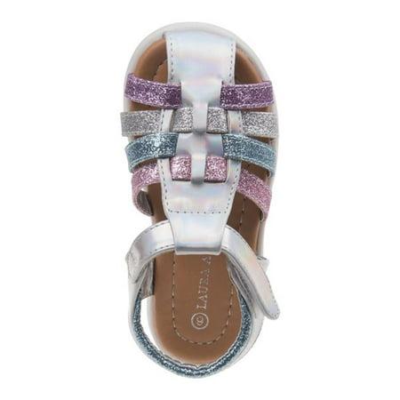 Laura Ashley O-LA82005CSVMT9 Glitter Fisherman Sandals for Toddler Girls, Silver & Multi Color - Size 9 (Laura Ashley Girls Wedge Sandal)