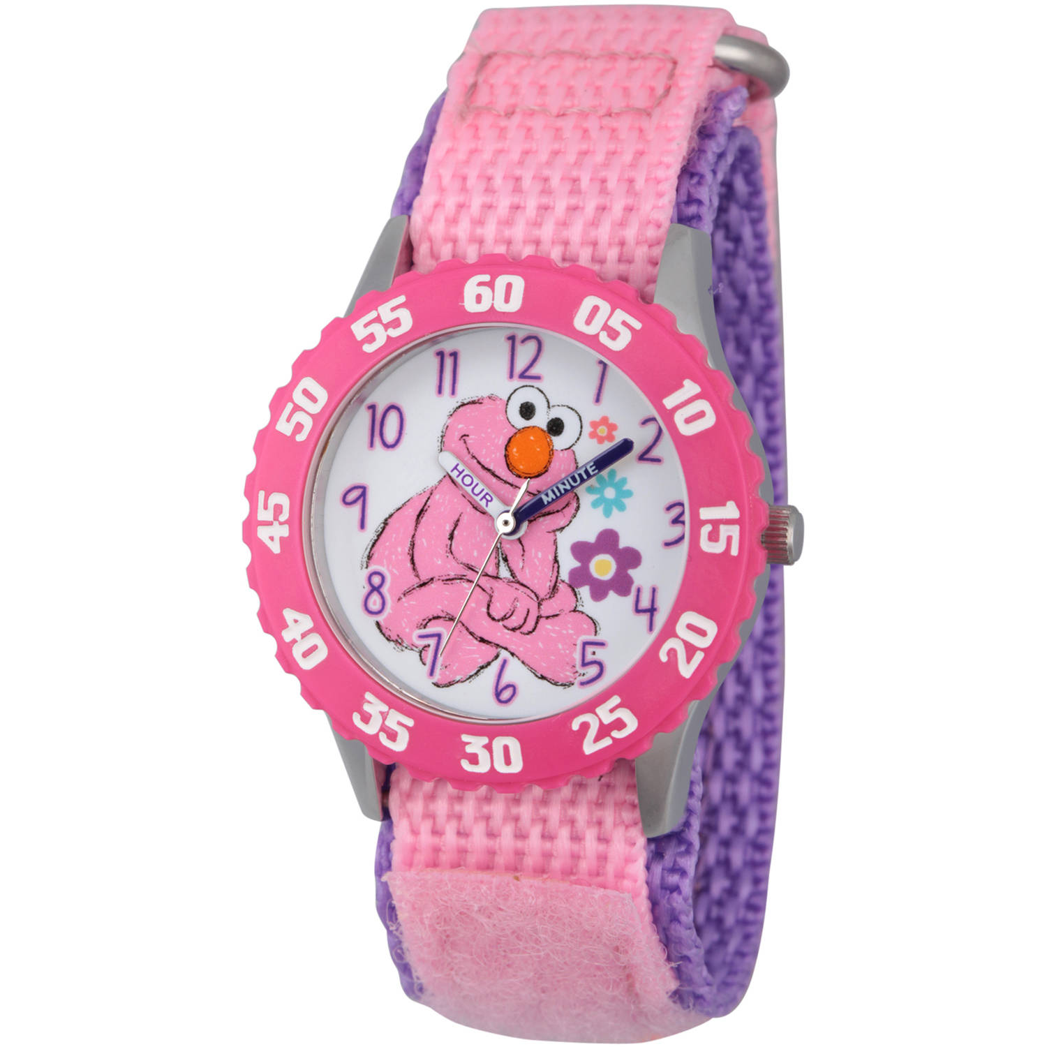 Sesame Street Girls' Stainless Steel Time Teacher Watch, Pink Bezel, Pink Hook and Loop Nylon Strap with Purple Backing