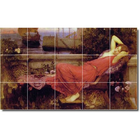 Ceramic Tile Mural John Waterhouse Women Painting 154 40 w x 24 h usi