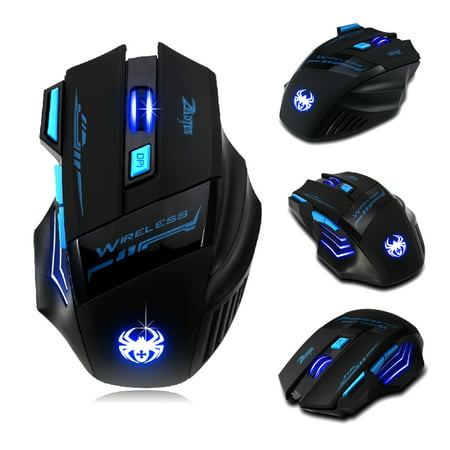 7 Buttons LED Optical Wireless Gaming Mouse For Win7/8 ME XP, 2400 DPI /1600 DPI /1000 DPI /600