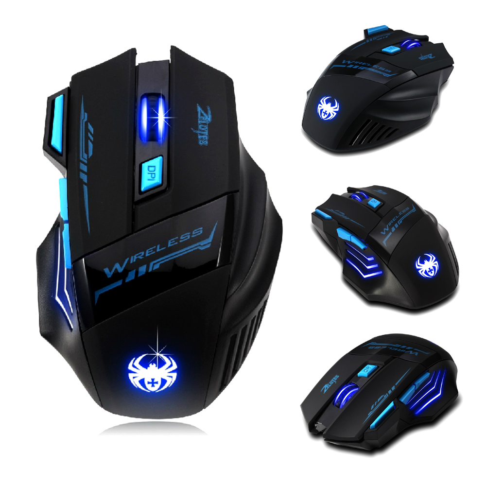 7 Buttons LED Optical Wireless Gaming Mouse For Win7/8 ME XP, 2400 DPI /1600 DPI /1000 DPI /600 DPI