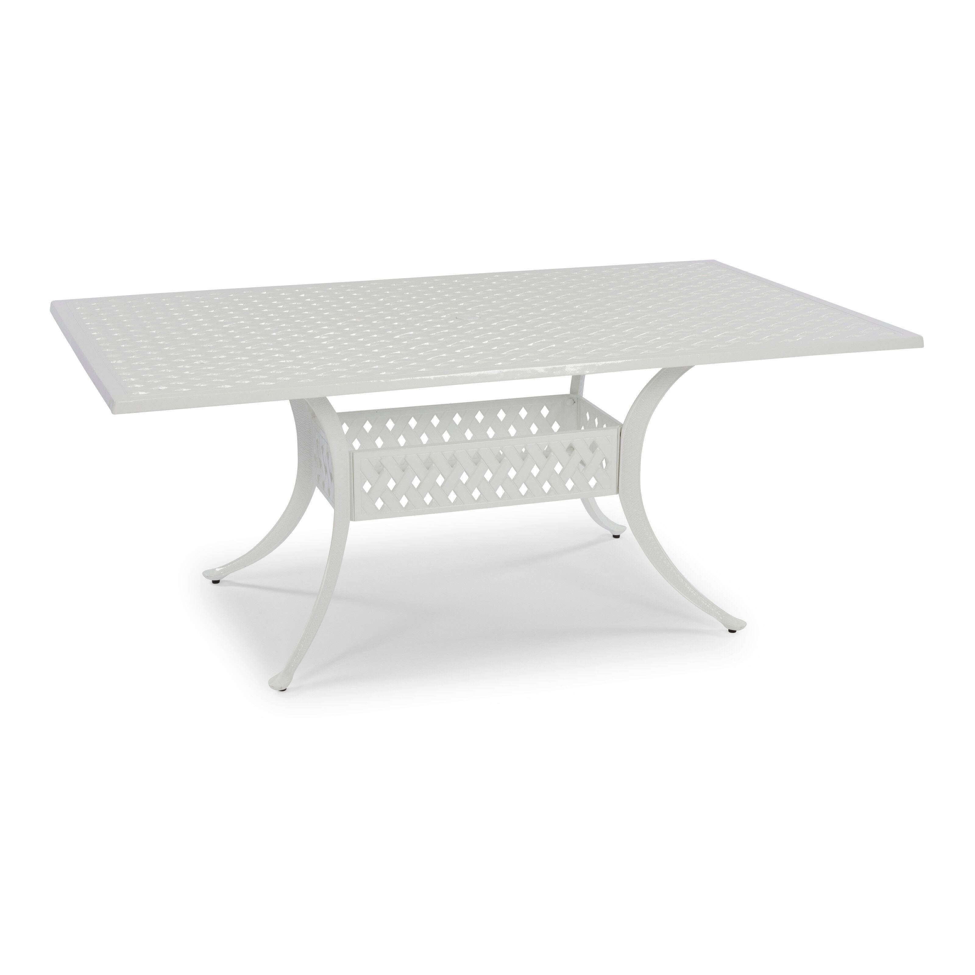 Home Styles La Jolla Cast Aluminum Outdoor White Rectangular Dining Table Walmart Com Walmart Com