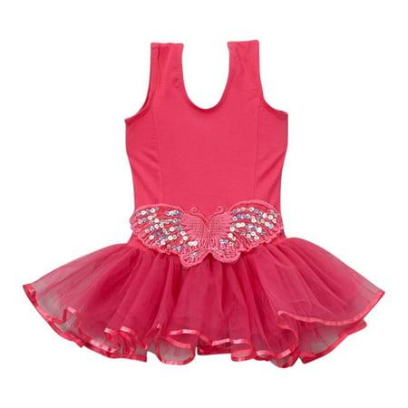 Hot Girl Leotard (Girls Hot Pink Butterfly Applique Skirted Dance Leotard)