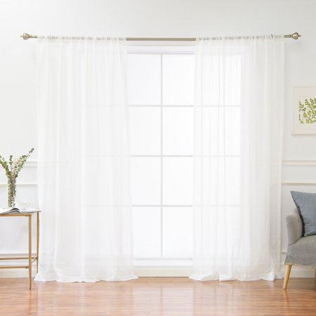 Best Home Fashion Cross Cheer Faux Linen Textured Curtain Panel