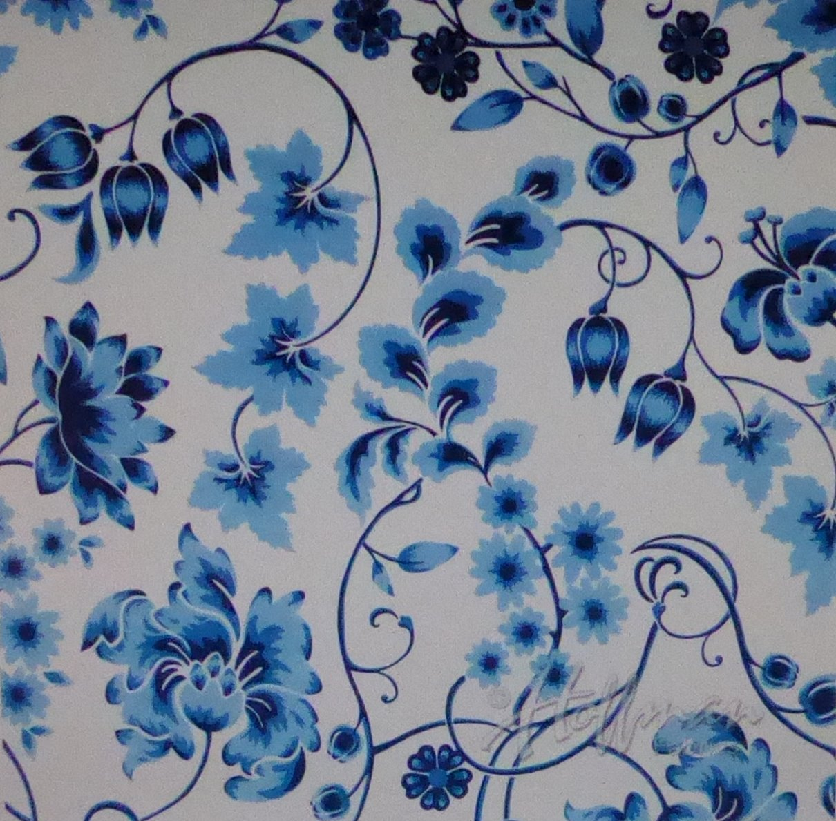 Delft Blue Floral Cotton Fabric by Hoffman of CA.