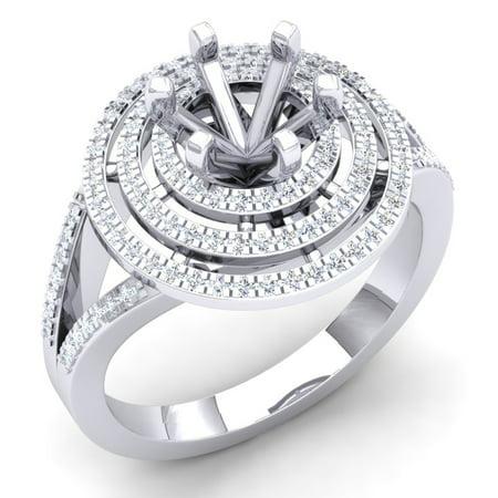 0.35 Carat (Ctw) 18K White Gold Round White Diamond Ladies Semi Mount Bridal Engagement Ring 1/3 CT (No Center