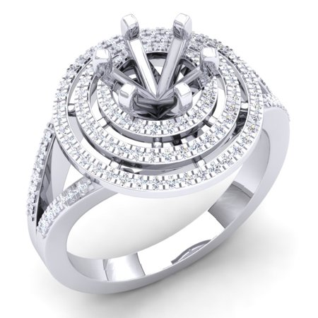 0.35 Carat (Ctw) 18K White Gold Round White Diamond Ladies Semi Mount Bridal Engagement Ring 1/3 CT (No Center Stone)