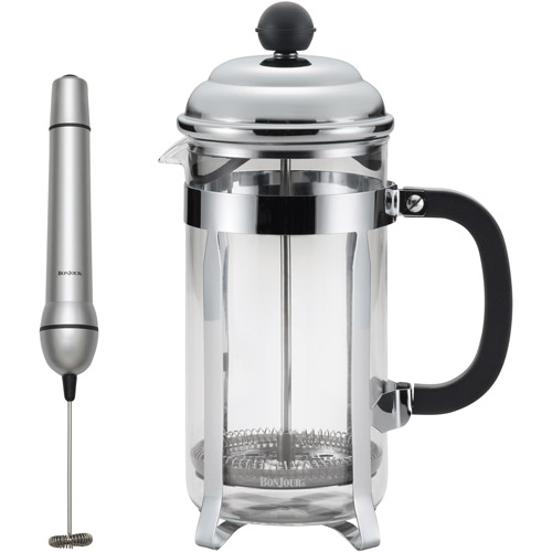 BonJour Coffee 8-Cup Bijoux French Press with Your Choice of BonJour Coffee and Tea Mini Milk Frother