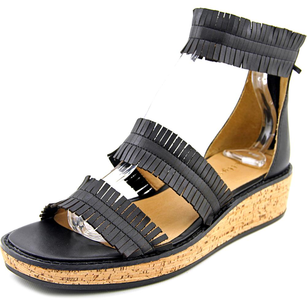 Bettye Muller Marque Women  Open Toe Leather Black Gladiator Sandal