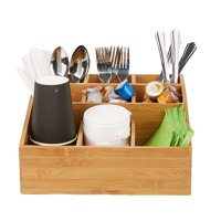 Mind Reader Coffee Condiment and Accessories Caddy Organizer with 9 Organizing Compartments, Bamboo Brown