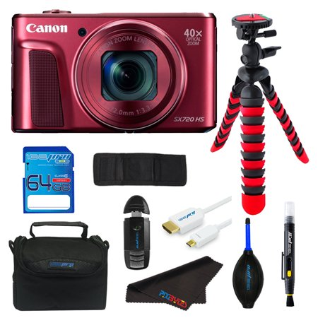 Canon PowerShot SX720 HS Digital Camera (Red) + SD Card + Tripod + Pixi Advanced Bundle Kit -  Pixibytes