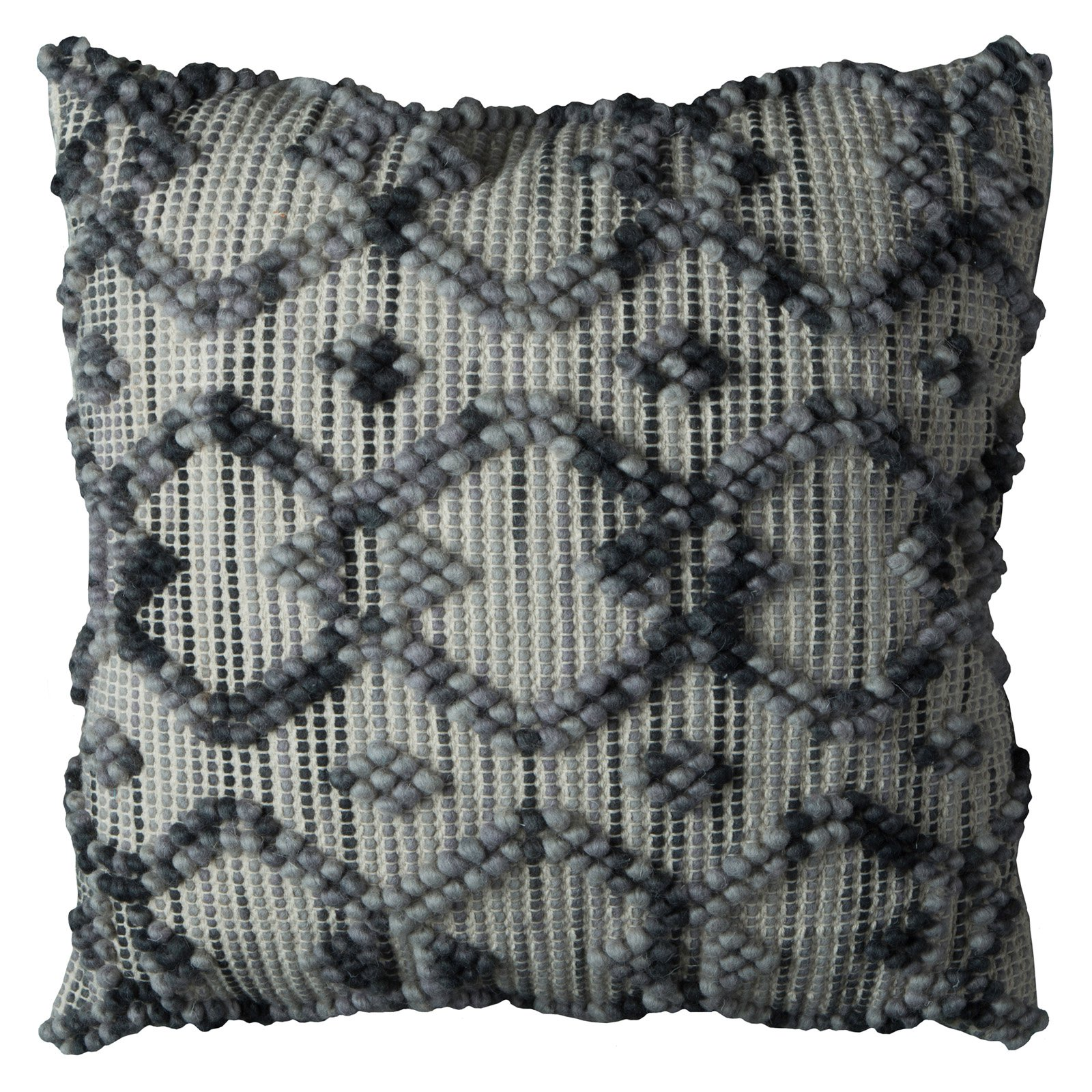"""Rizzy Home Decorative Poly Filled Throw Pillow Textured Interwined Diamonds 20""""X20"""" Dark Grey"""