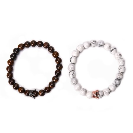 - Fancyleo Natural Stone Bead Bracelets Alloy Crown Couple Bracelet Men Women Gift