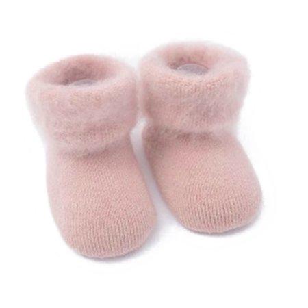 Turn Cuffs Non Skid - Unisex infant Baby Winter Warm Soft Non-Skid Cotton Cuffed Socks (Pink, S/6-12 Months)