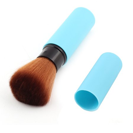 Retractable Face Brush - Unique Bargains Woman Comestic Makeup Retractable Blush Brush Face Powder Beauty Tool Blue