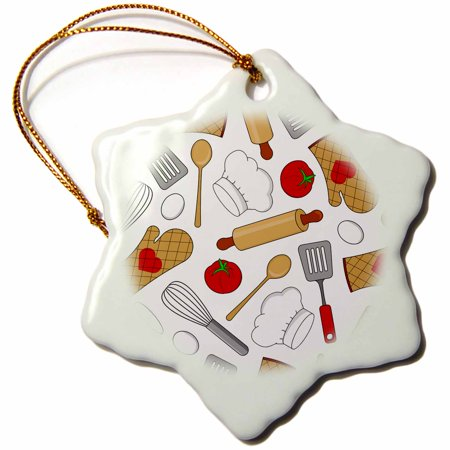 3dRose Cute Chef or Cook Love Pattern in White, Snowflake Ornament, Porcelain, 3-inch ()