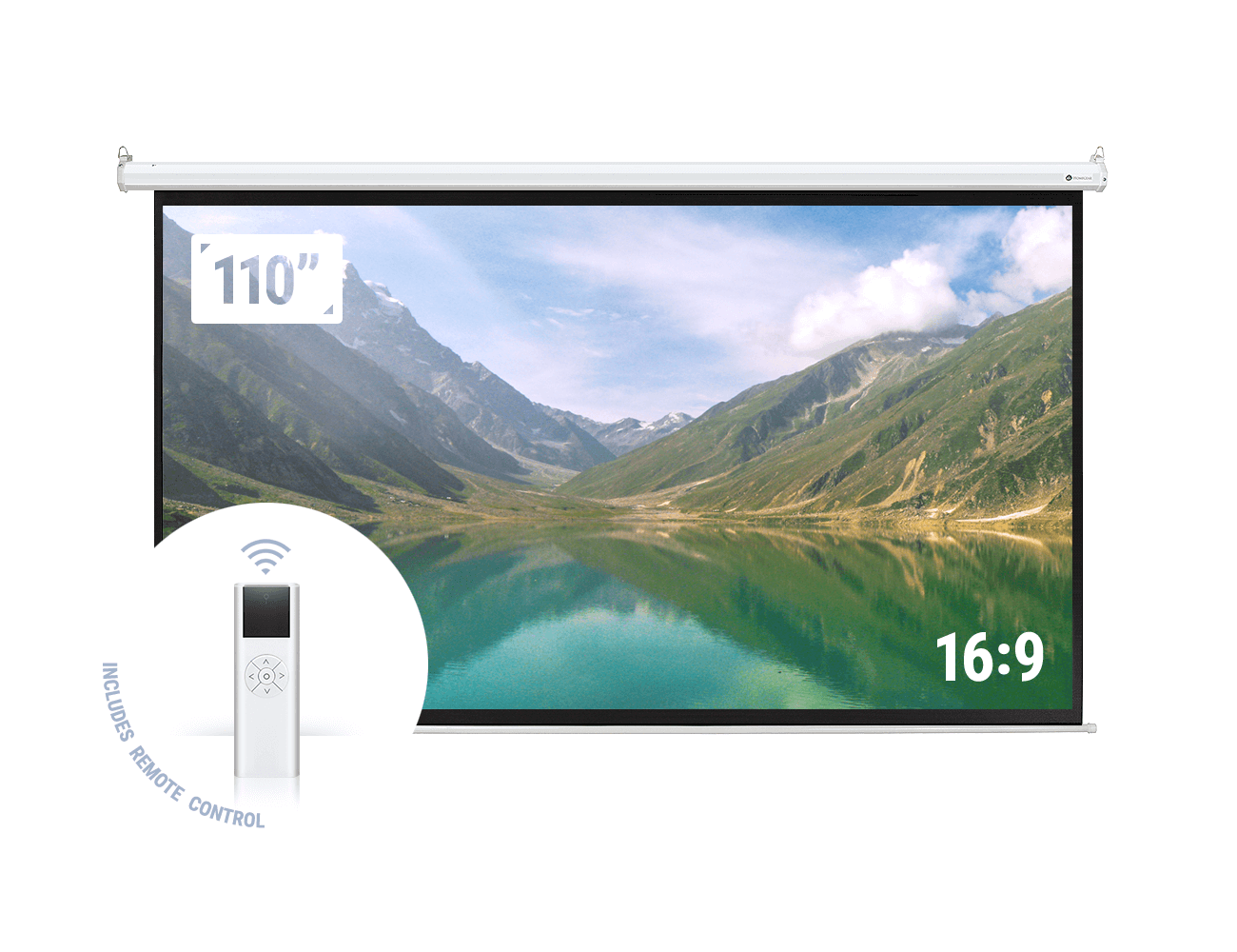Homegear 110� 16:9 HD Electric Motorized Projector Screen + Remote by Homegear