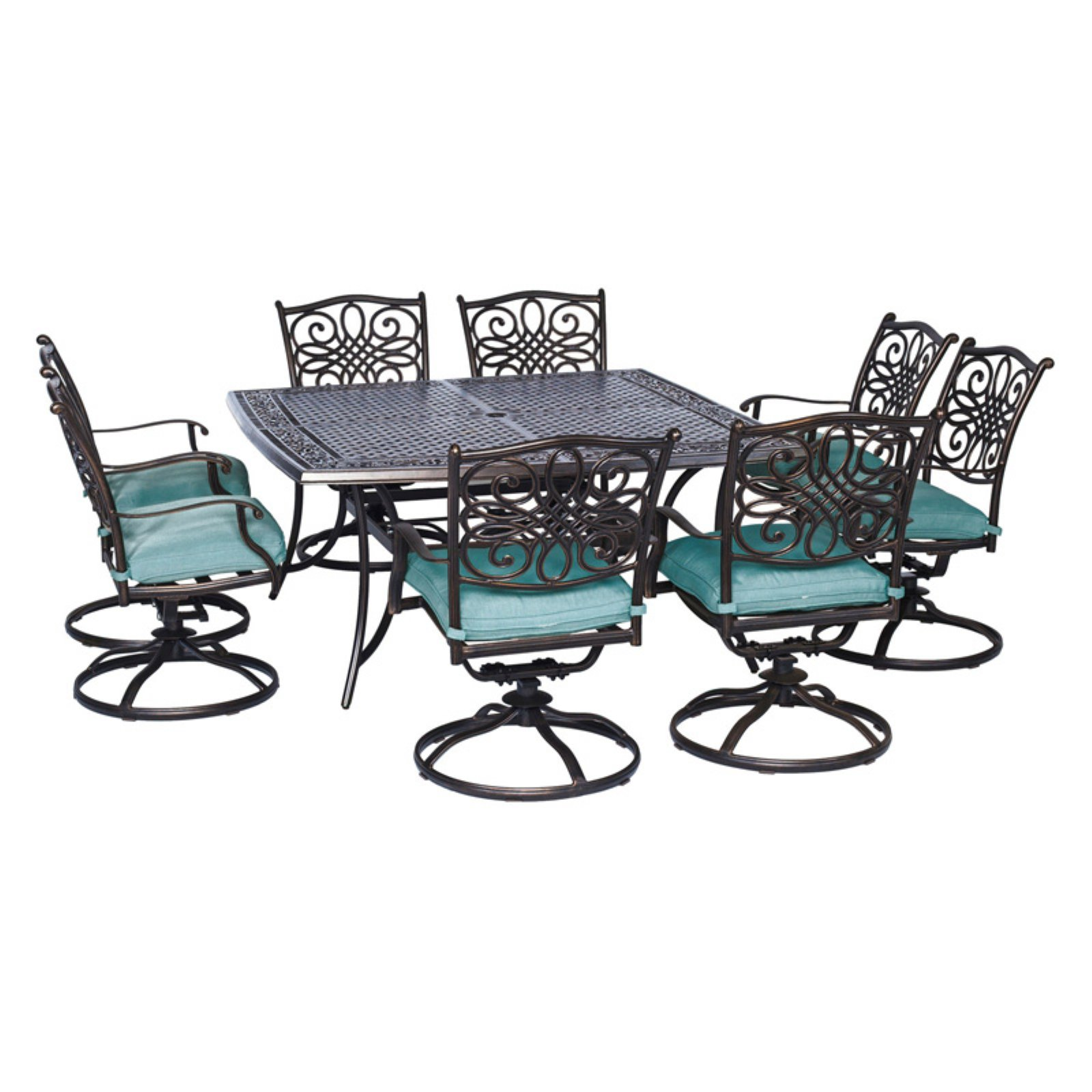 Hanover Outdoor Traditions 9-Piece Square Dining Set with 8 Swivel Rockers, Ocean Blue