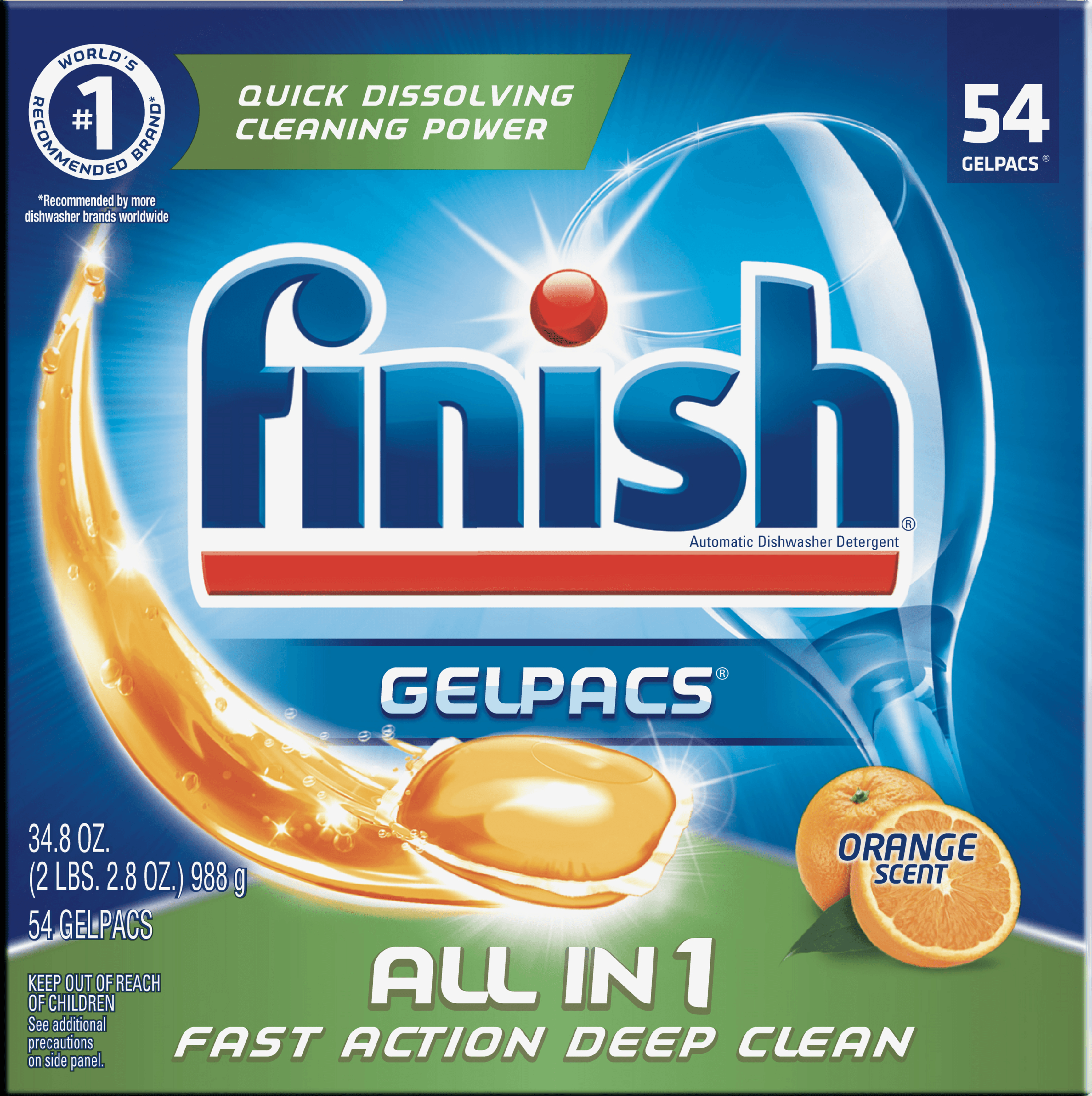 Finish All In 1 Gelpacs, Orange, 54 Count